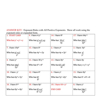 "Exponent Rules ""I Have"" Activity (2 levels)"