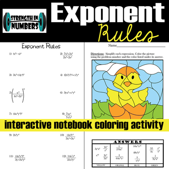 Exponent Rules Interactive Notebook Easter Chick Coloring Activity