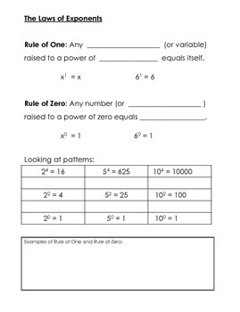 Exponent Rules Interactive Notes and Practice
