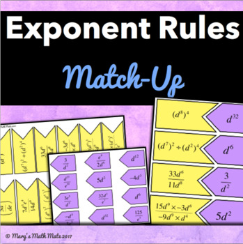 Exponent Rules (Intermediate): Match-Up