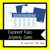 Exponent Rules Jeopardy Game