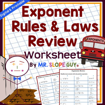 Exponent Rules & Laws Unit Review PDF Worksheet HSN-RN.A.2 Go Math