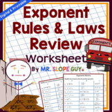 """Rules of Exponents: Unit Review Worksheet """"Exponent Laws"""" (Distance Learning)"""