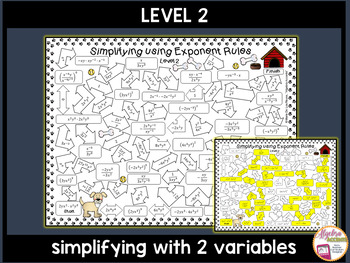 Exponent Rules/Laws of Exponents Mazes 3 Differentiated Levels