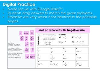 Exponent Rules (Laws of Exponents) Practice Pack