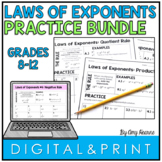 Laws of Exponents Practice Worksheets