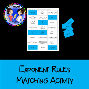 Exponent Rules Matching Activity