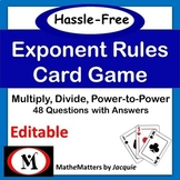 Laws of Exponents : Exponent Rules  EDITABLE  8.EE.A.1