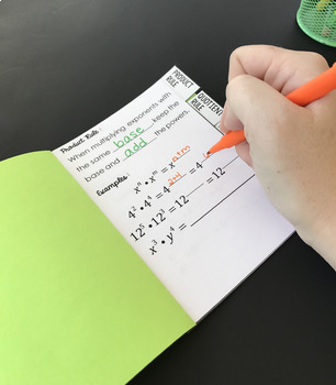 Exponent Rules Mini Tabbed Flip Book for 8th Grade Math