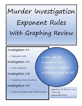 Exponent Rules Murder Investigation VA SOL A.2 and A.6