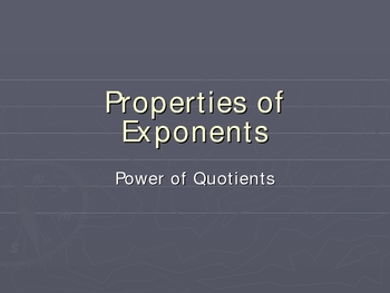 Exponent Rules: Power of Quotients