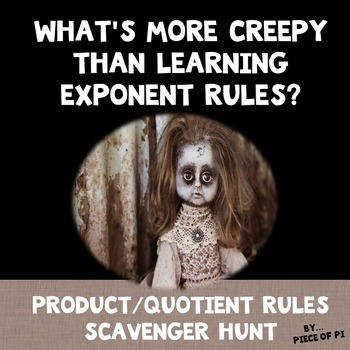 Exponent Rules Product Quotient Powers Scavenger Hunt