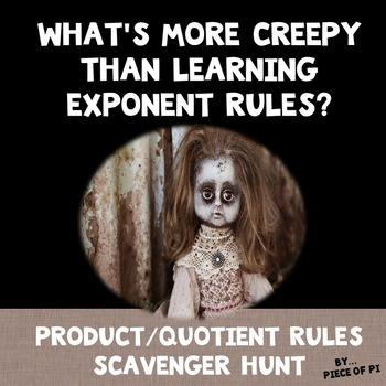 Exponent Rules Product Quotient Powers Scavenger Hunt