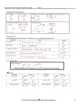 Exponent Rules - Product of Powers Property - Interactive Notes Worksheet
