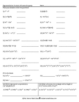 Exponent Rules-Product of Powers Property-Worksheet/Homework