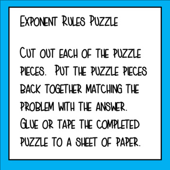 math worksheet : exponent rules puzzle by teacher twins  teachers pay teachers : Exponent Rules Worksheet