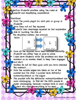 Exponent Rules Puzzle Set