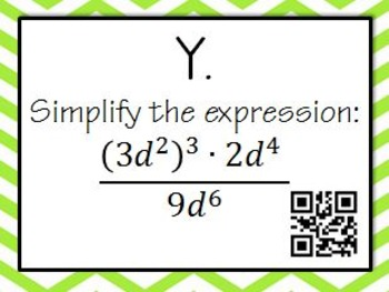 Exponent Rules QR Task Cards