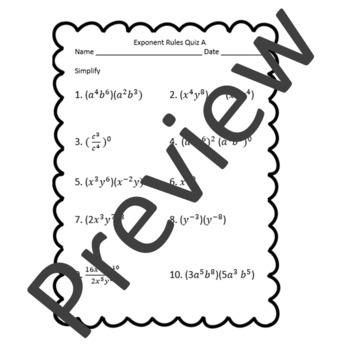 Exponent Rules Quiz