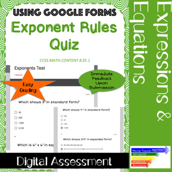 Exponent Rules Quiz-- Google Forms