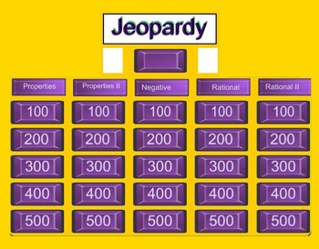 Exponent Rules & Rational Exponents Jeopardy SmartBoard