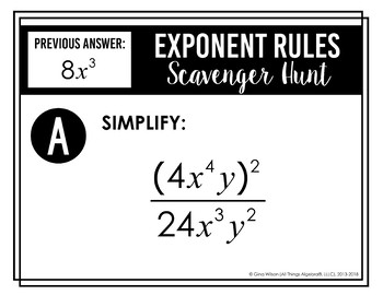 Exponent Rules - Laws of Exponents - Scavenger Hunt