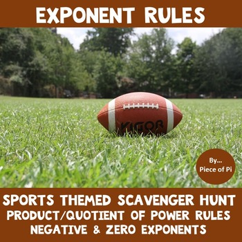 Exponent Rules Scavenger Hunt Negative Zero Exponents Product Quotient of Powers