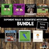 Exponent Rules Scientific Notation Activities BUNDLE