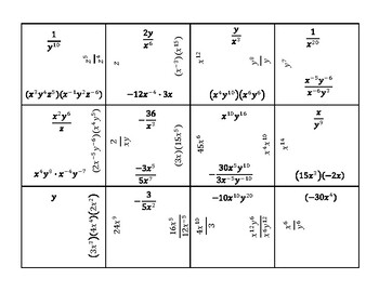 Exponent Rules Square Puzzle