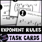 Exponent Rules Task Cards Activity