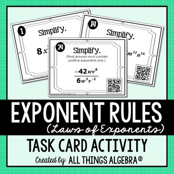 Exponent Rules - Laws of Exponents - Task Cards