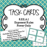 Properties of Exponents Task Cards- Power Only