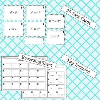Exponent Rules Task Cards- Product Only