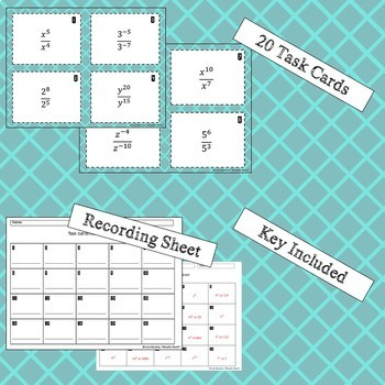Properties of Exponents Task Cards- Quotient Only