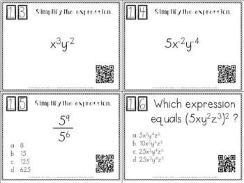 Exponent Rules Task Cards with QR Codes