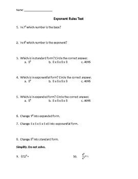 Exponent Rules Test 2
