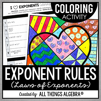 Exponent Rules Coloring Activity by All Things Algebra | TpT