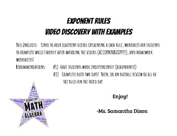Exponent Rules - Video Discovery with Examples