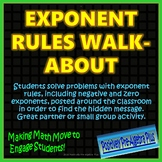 Exponent Rules Walk-About Activity