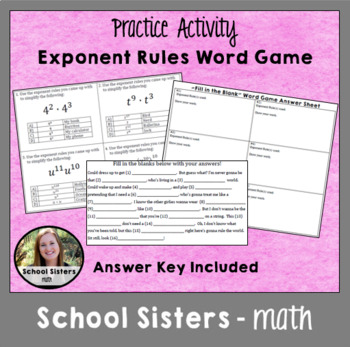 Exponent Rules Word Game