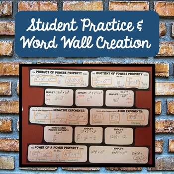 Exponent Rules Word Wall Activity