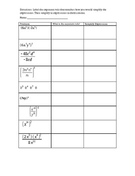 Exponent Rules Worksheet