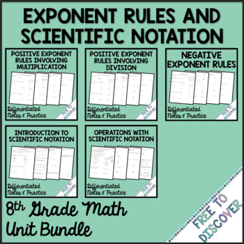 Exponent Rules and Scientific Notation Notes and Practice Bundle