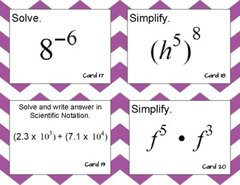 Exponent Rules and Scientific Notation Review Task Cards