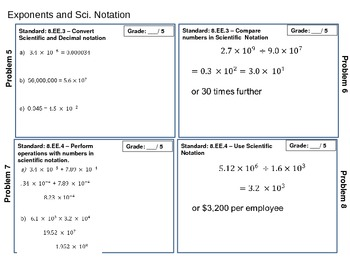 Exponent Rules and Scientific Notation Standards Based Assessment