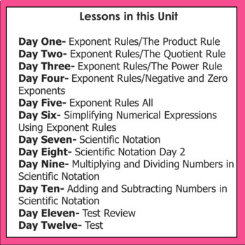 Exponent Rules and Scientific Notation Unit CCs  8.EE.1, 8.EE.3, 8.EE.4