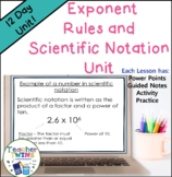 Exponent Rules and Scientific Notation Unit CCs  8.EE.1, 8