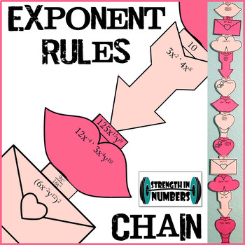 Exponent Rules (multiplying, dividing, powers) Paper Chain Valentine's Day