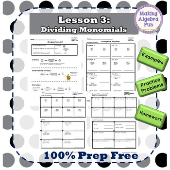 Exponent Rules with Monomials Lesson Notes BUNDLE Homework Quiz & Test