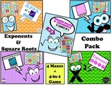 Exponent & Square Roots Bundle: 4 Mazes + 4-in-1 Game 25% OFF!!